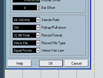 Pemilihan sample rate dan bit format pada nuendo
