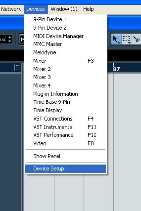 memilih menu device setup di nuendo
