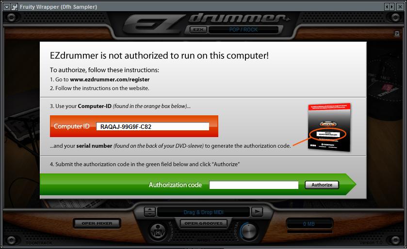 Ezdrummer authorization