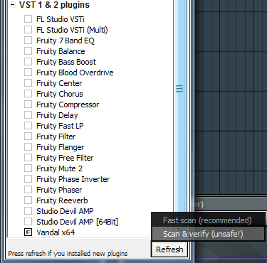 Select generator plugin scroll down vst 1 2 plugin fast scan recommended