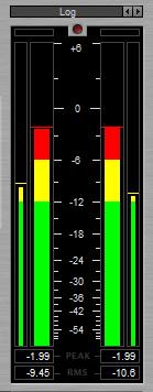 Tampilan meter level pada IXL Multimeter dengan skala logaritmik
