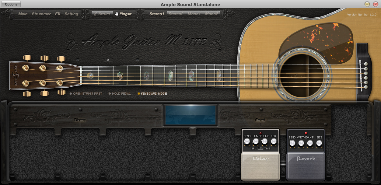 download vst plugin guitar akustik Ample Guitar M Lite efek delay dan reverb akustik