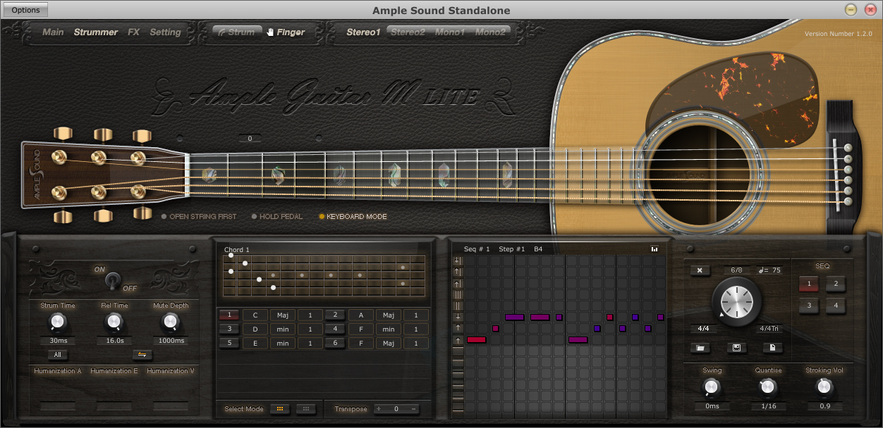 download vst plugin guitar akustik Ample Guitar M Lite genjreng strumming dan picking