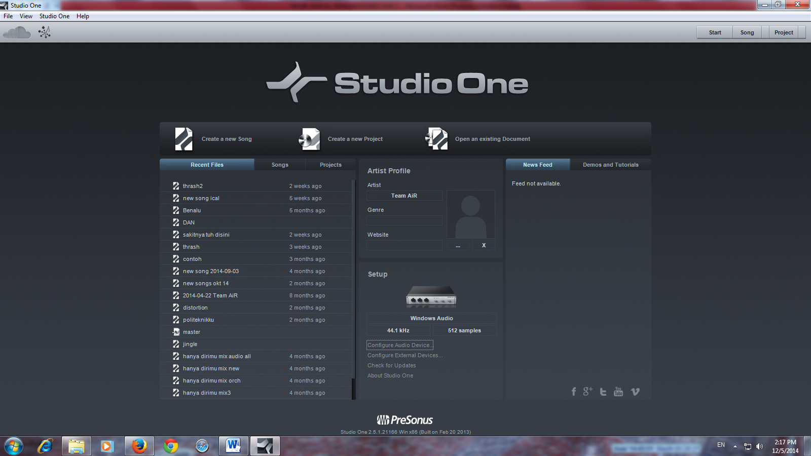 menu awal studio one