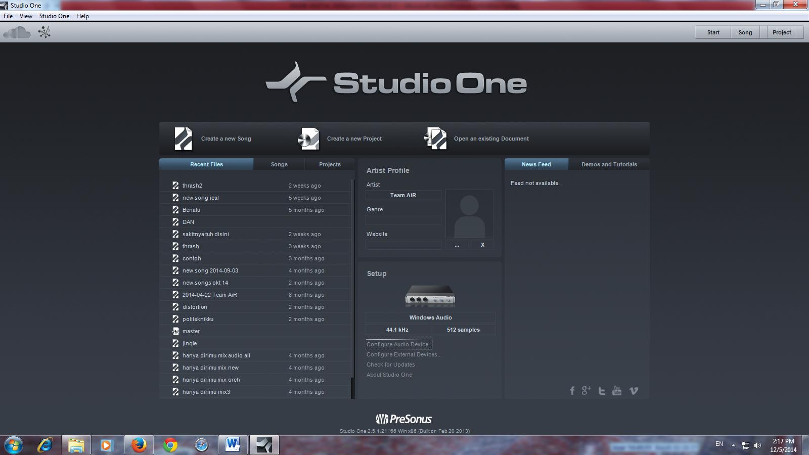 menu awal studio one