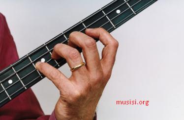 Cara memegang bass yang benar keempat jari memencet masing masing fret