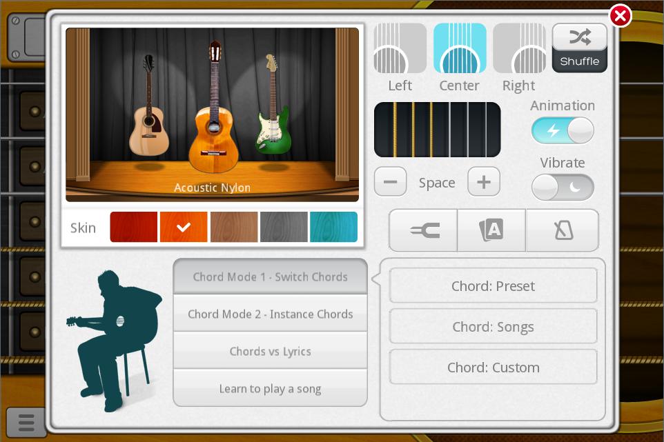 aplikasi android untuk belajar gitar Guitar Plus dapat memilih gitar akustik