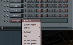 Klik kanan pada Dfh Sampler Ez drummer open Piano Roll Fl Studio